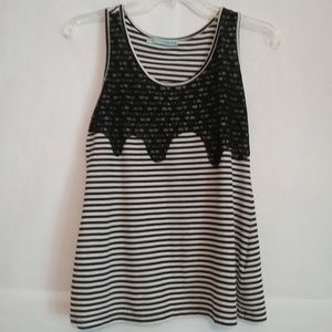 Maurices Black White Striped Tank Top Lace Detail